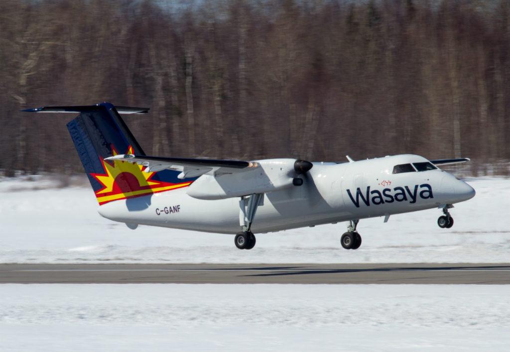 A Wasaya Airways LP de Havilland Canada Dash-8-100 takes off.