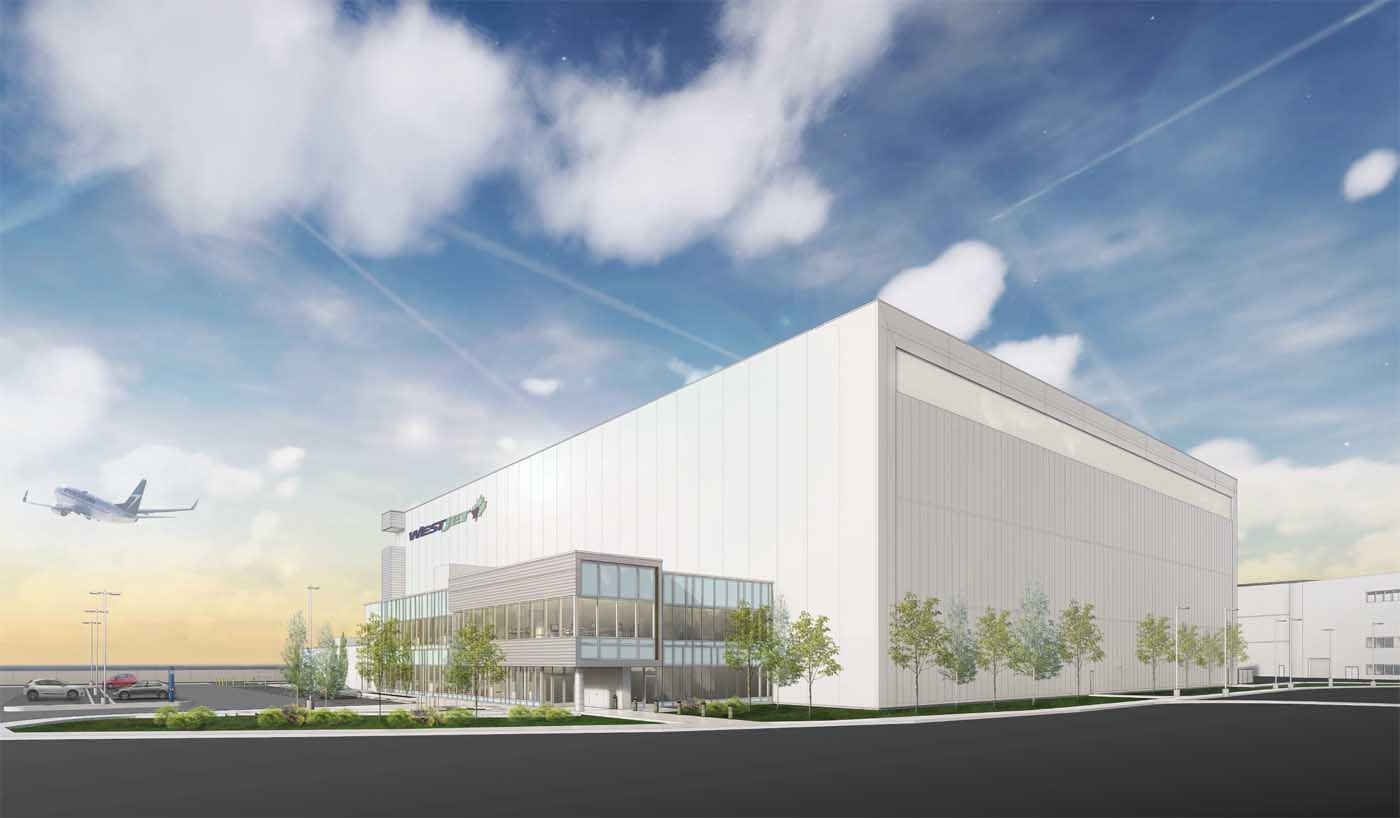 An artist's rendering of WestJet's new hangar facility in Calgary.