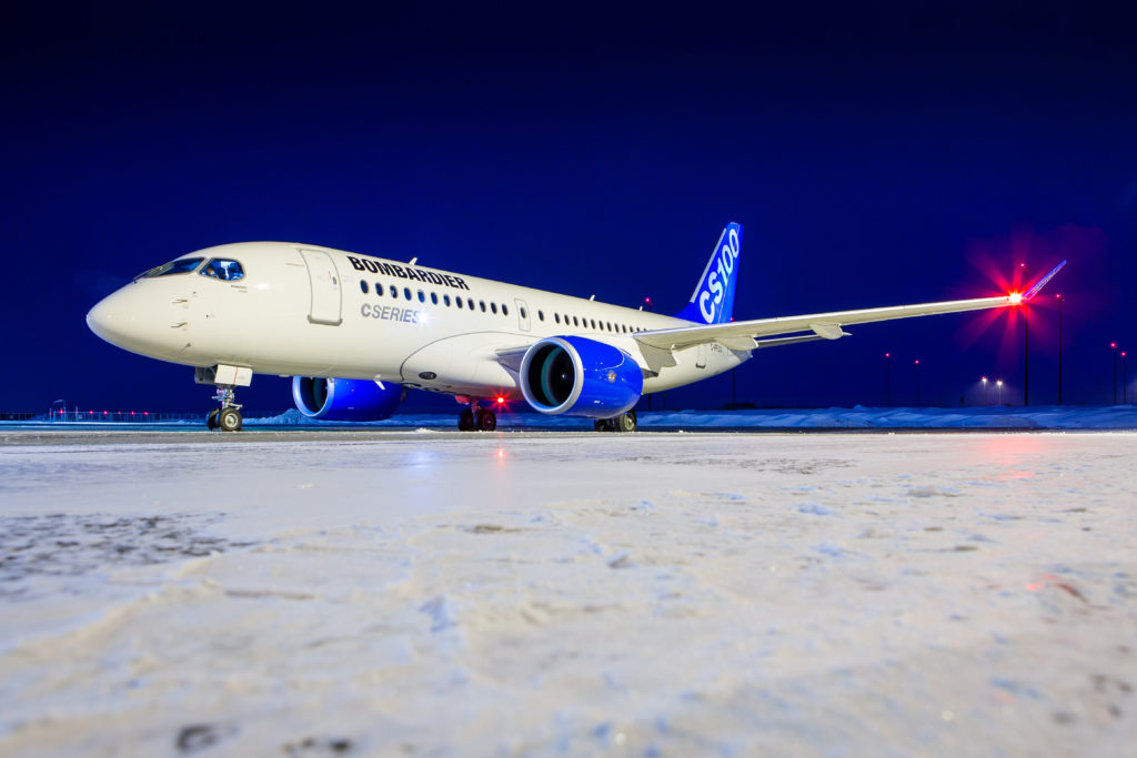 Bombardier C-Series plane on the runway