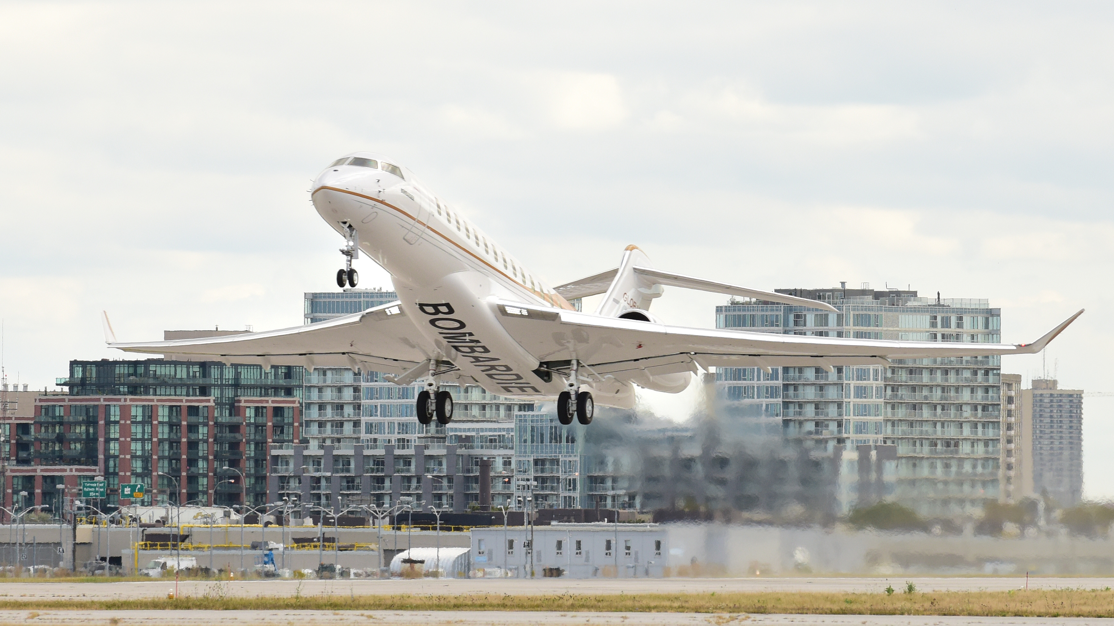 The fourth Global 7000 aircraft ascended into clear skies from one of Bombardier's runways in Toronto, Ont.
