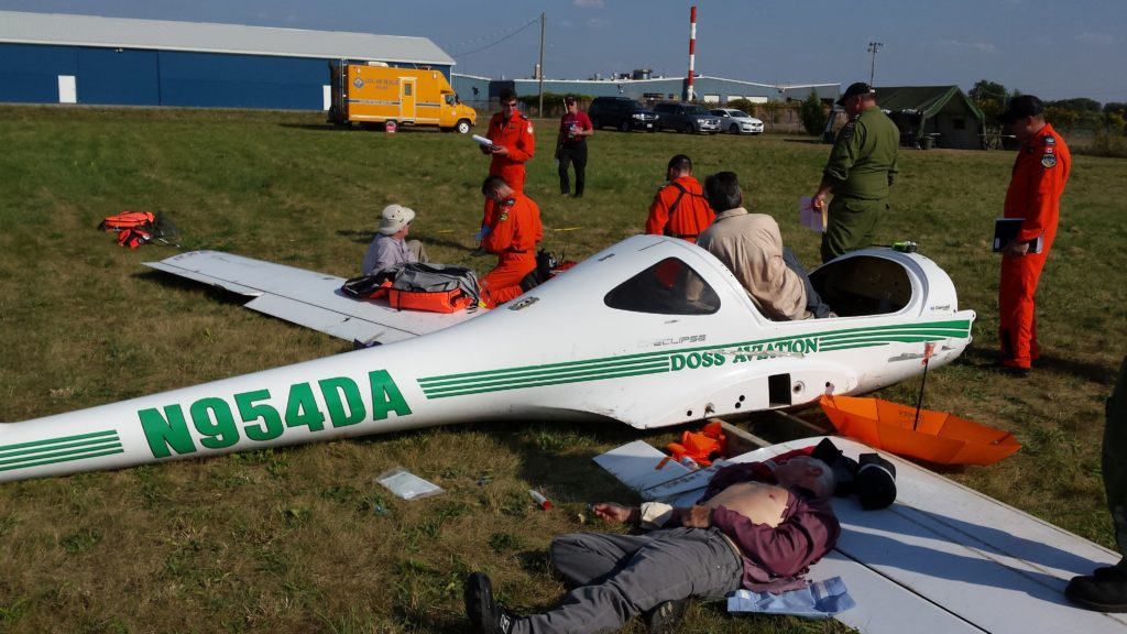 A re-created scene of a small plane crash. CASARA trains its volunteers at SAREX by re-creating different search and rescue scenarios that must be acted upon within the policies