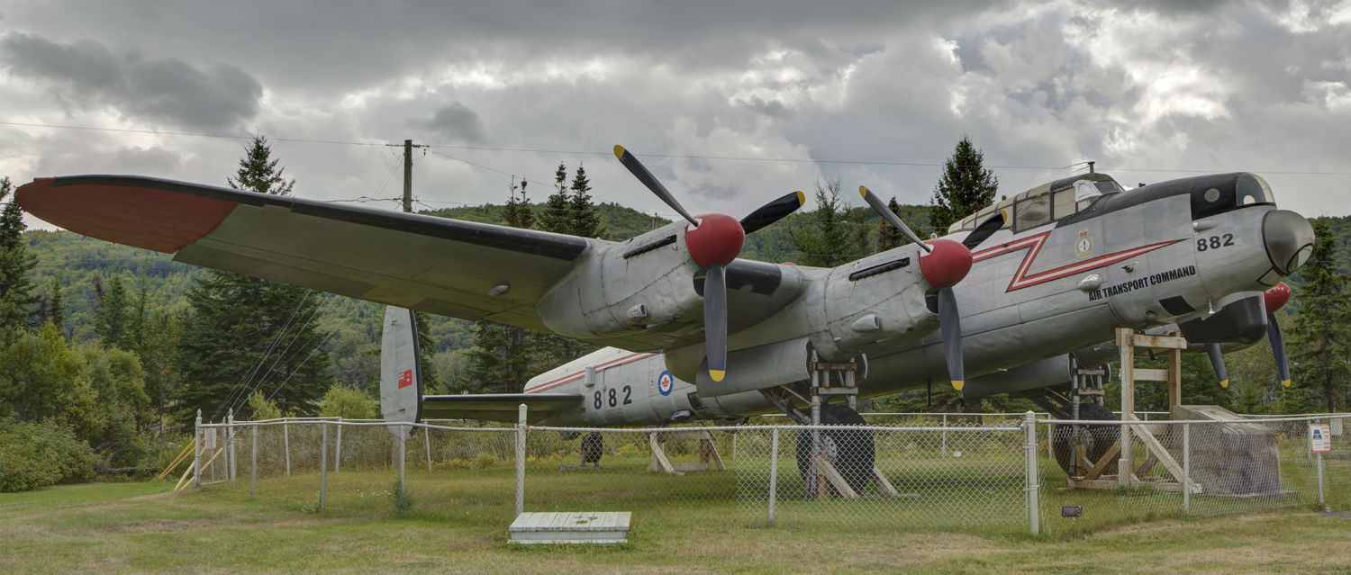 Lancaster KB882 rests on ground in Edmundston, New Brunswick