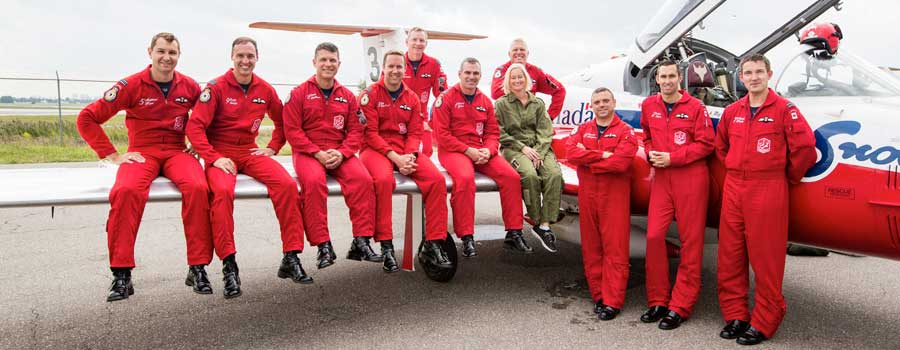 Nicola Godfrey, Seneca's Chief Flight Instructor, and the 431 Air Demonstration Squadron.