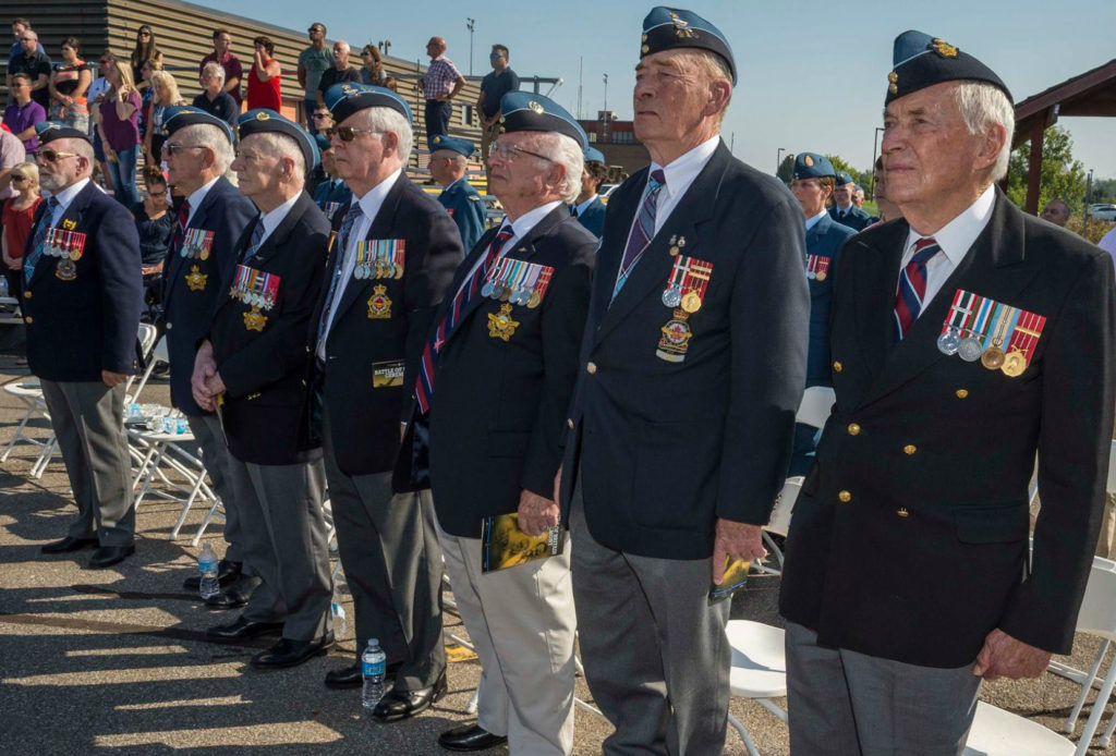 RCAF veterans prepare to march on parade at the national Battle of Britain parade