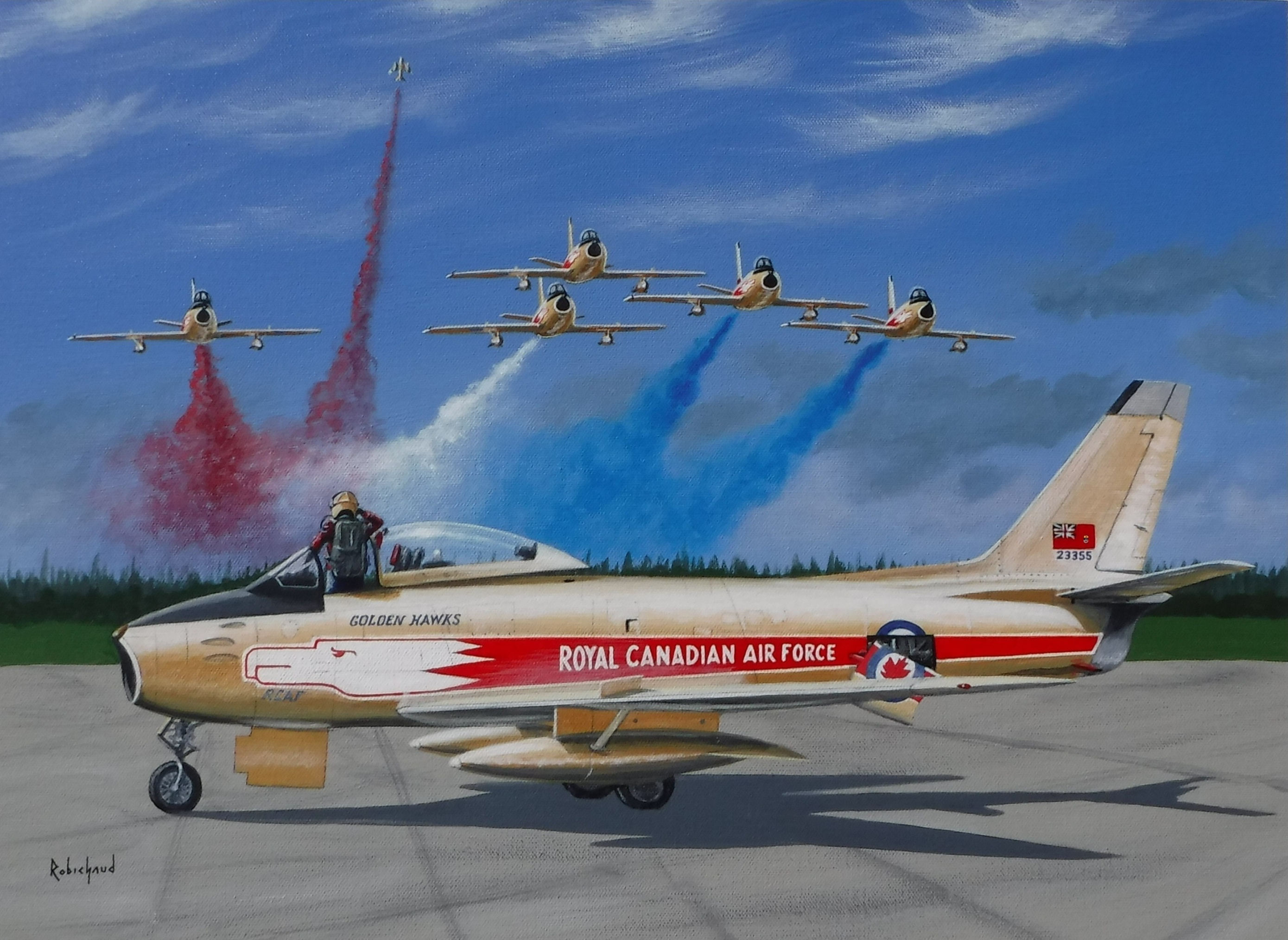 "A new painting by Peter Robichaud, called ""Salute To A Golden Age,"" depicts the pilot in a Golden Hawks Canadair Sabre saluting an approaching flight of the team as one aircraft breaks off to leave the group in a ""missing man"" formation. Peter Robichaud Image"