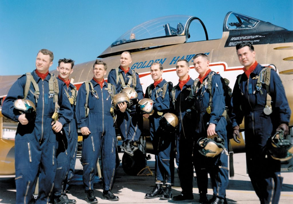 Original Golden Hawks pilots in 1959, from left to right, included F/O Bill Stewart, F/O Jim Holt, F/O John Price, S/L Fern Villeneuve, F/L Ed Rozdeba, F/L Ralph Annis, F/L Jim McCombe, and F/L Jeb Kerr. RCAF Photo