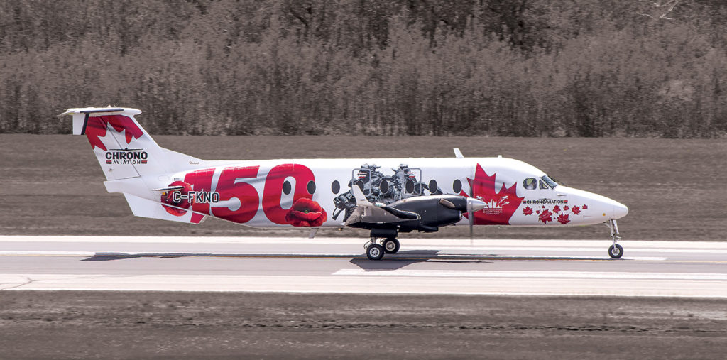 The latest custom livery on a Chrono Beech 1900D celebrates Canada's 150th birthday. The wrap features 20 maple leaves in which the names of 20 influential Canadians are marked.