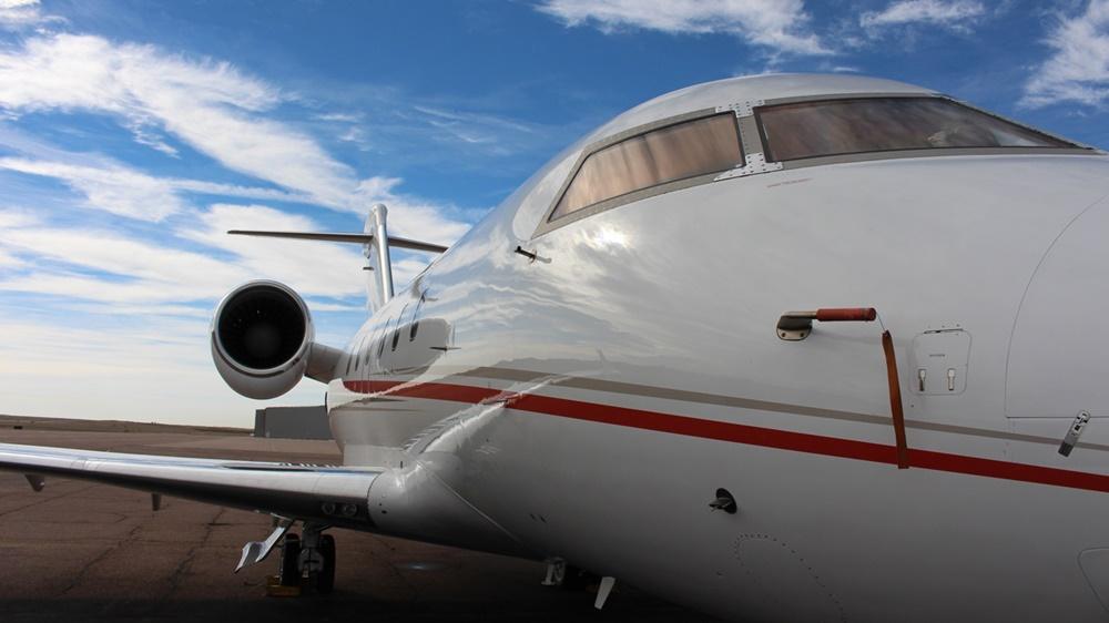 Closeup of business jet exterior