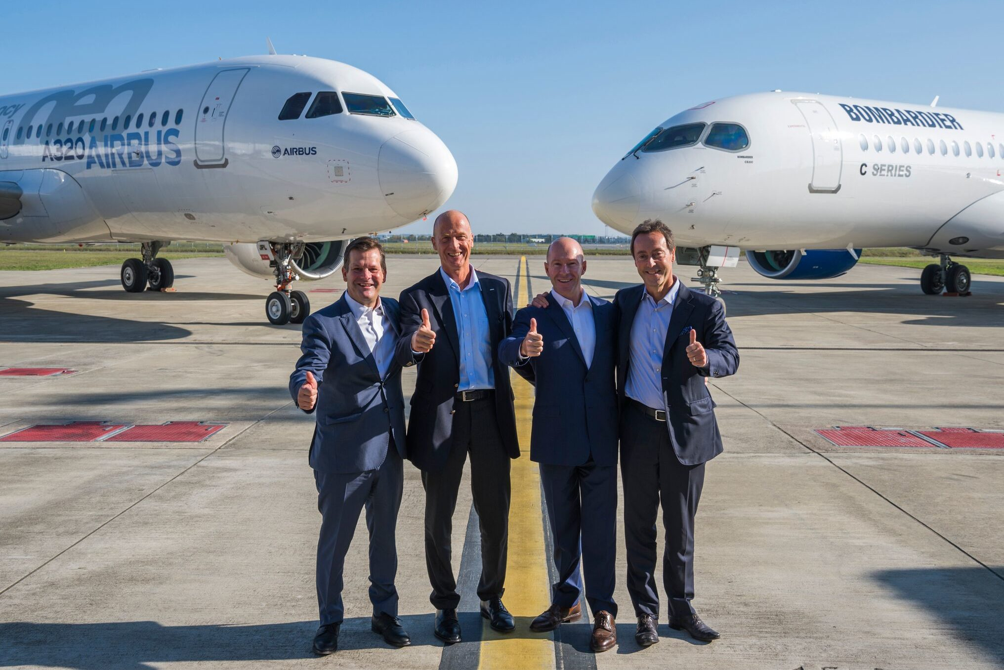 From left to right: Pierre Beaudoin, Bombardier chairman of the board; Tom Enders, Airbus CEO; Alain Bellemare, Bombardier president and chief executive officer; Fabrice Bregier, Airbus chief operating officer and president of Airbus Commercial Aircraft. Photo courtesy of Airbus