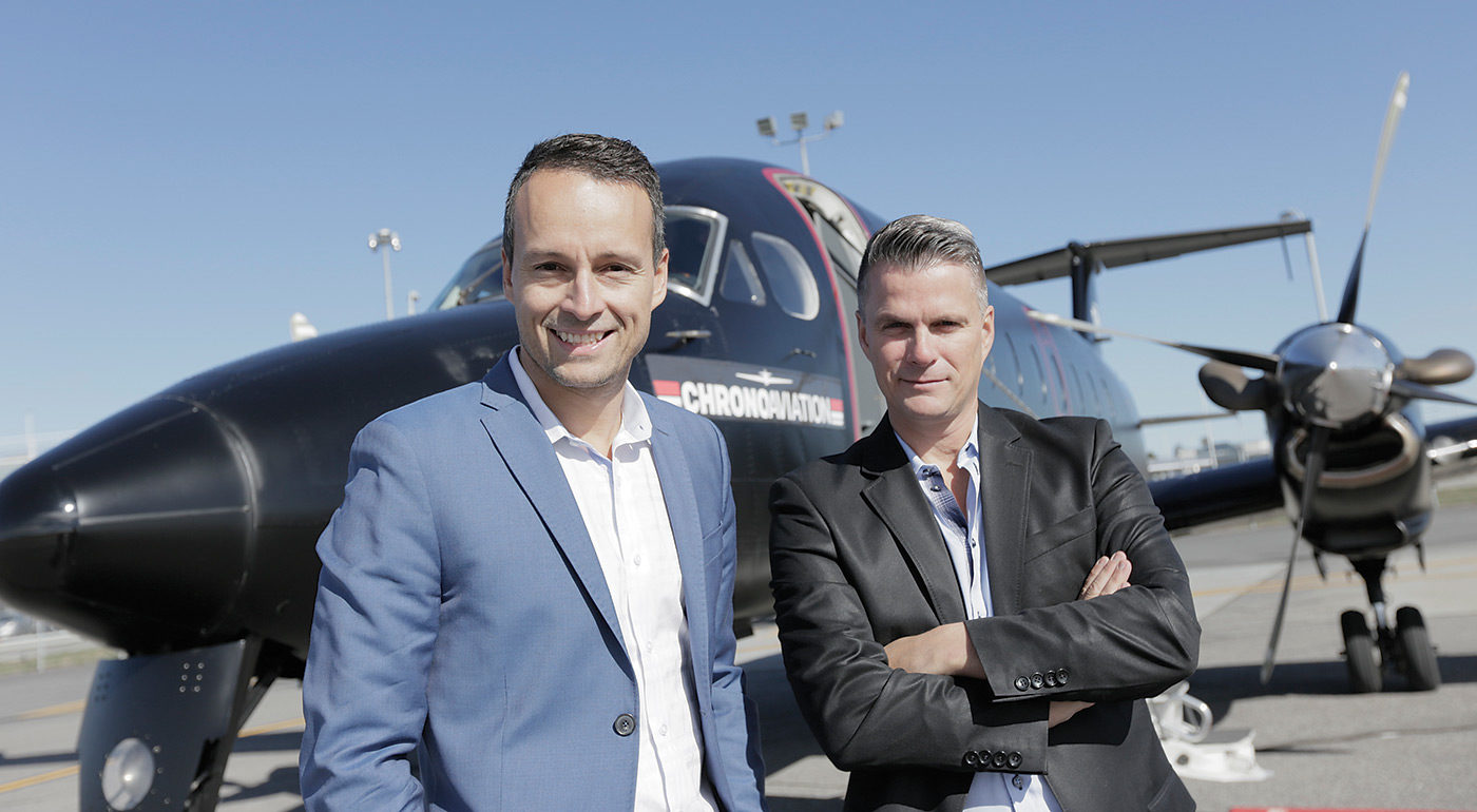 Chrono Aviation was founded by Vincent Gagnon, right, president and chief pilot, and Dany Gagnon, the company's vice-president and operations director.