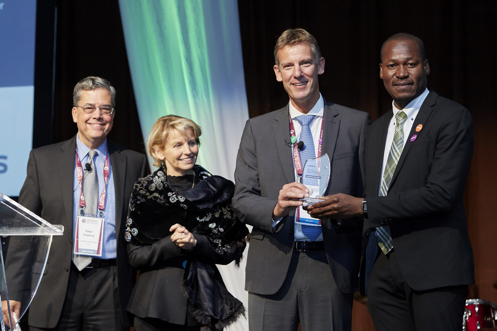 From right to left: Taiwo Tejumola; Jean-Brice Dumont; Marie Paule Roudil, director of the UNESCO Liaison Office, New York; and Peter Kilpatrick. Airbus Photo