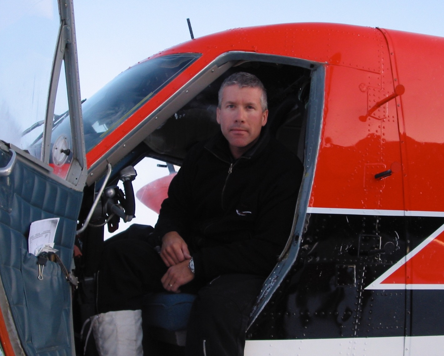 Sean Loutitt sits in his aircraft in this photo from from his 2003 flight to the South Pole.
