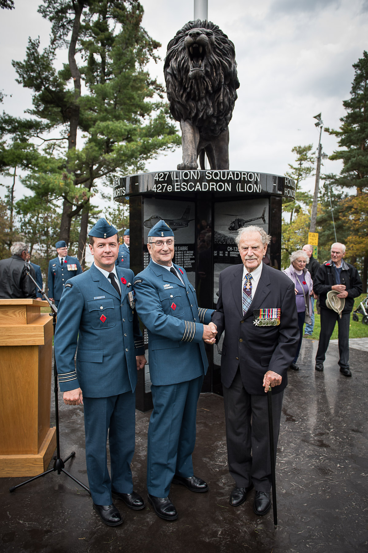 Largely championed by the Royal Canadian Air Force Association Trust and 427 SOAS Honorary Col Delbert Lippert, the cenotaph is a milestone in the Squadron's history, being the first dedication of its kind to honor the sacrifices and storied past of 427 Squadron. National Defence/Canadian Armed Forces Photo