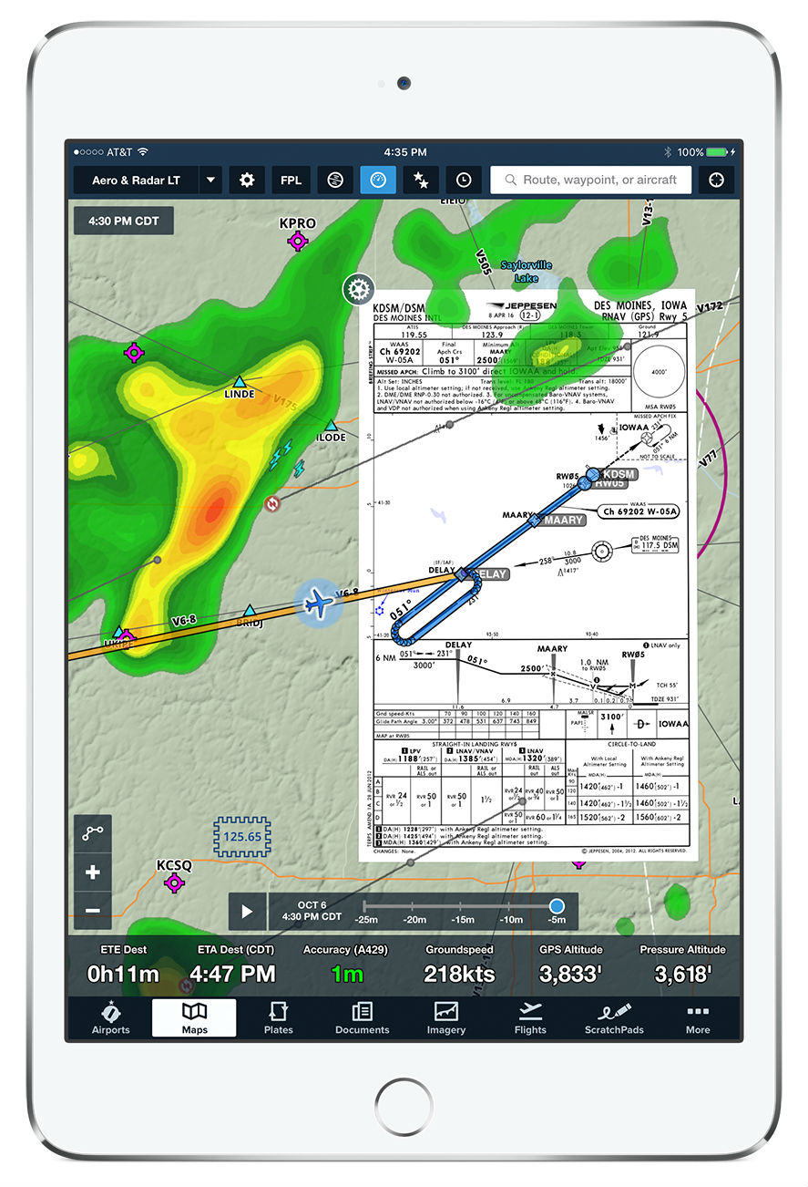 Pilot situational awareness improved by SD and ForeFlight data integration—compatible with an iPad or iPhone. Satcom Direct Photo