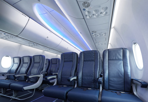Boeing's new 737 MAX features the company's sky interior which includes larger overhead bins, sculpted sidewalls and LED lighting to create a more comfortable guest experience over the course of a flight.