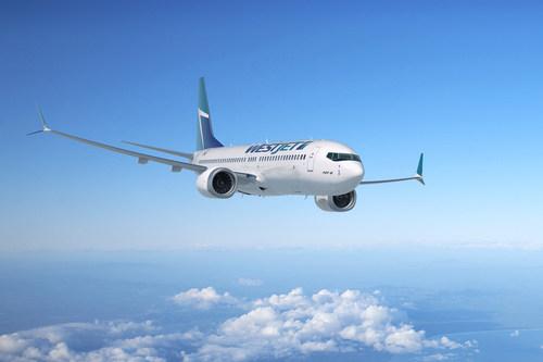 WestJet's Boeing 737 MAX soaring above clouds.