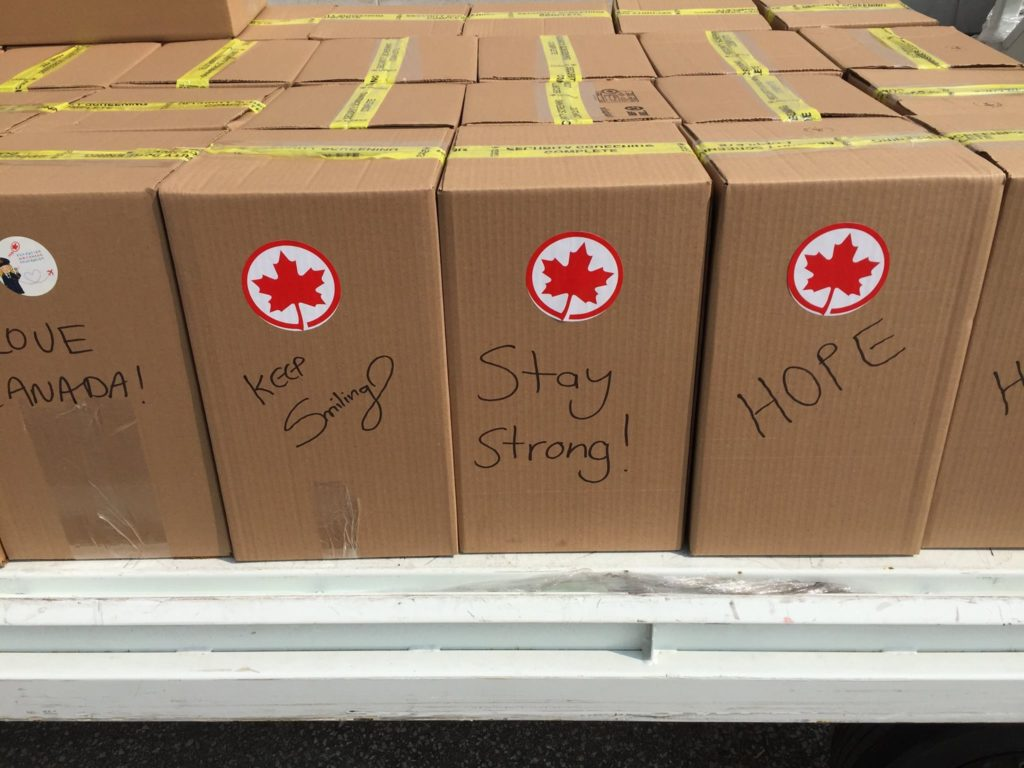 With hopeful and positive messages, Air Canada and Global Medic package and send necessary supplies to hurricane victims
