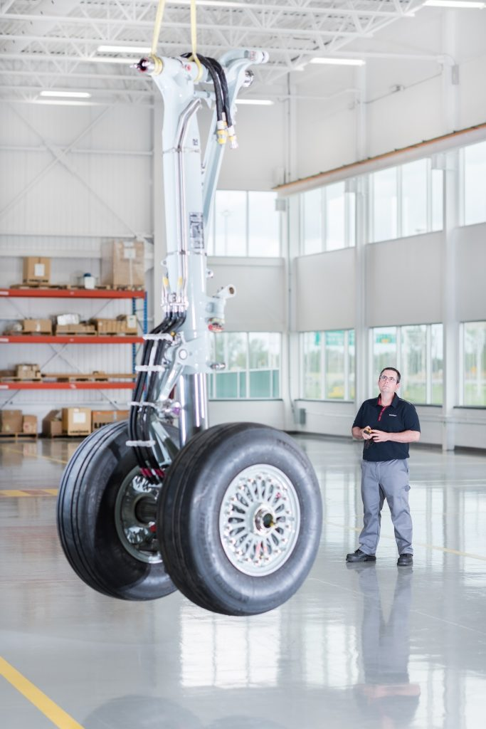 Bombardier C Series main landing gear at Liebherr-Aerospace's facility in Laval, Que.