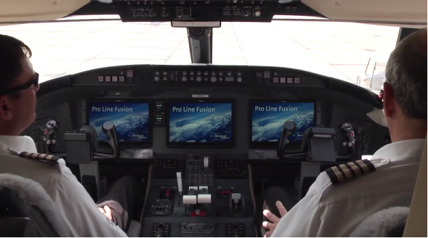 Nextant Aerospace test pilots fire up the Pro Line Fusion® integrated avionics system for its debut flight on a Bombardier Challenger 604