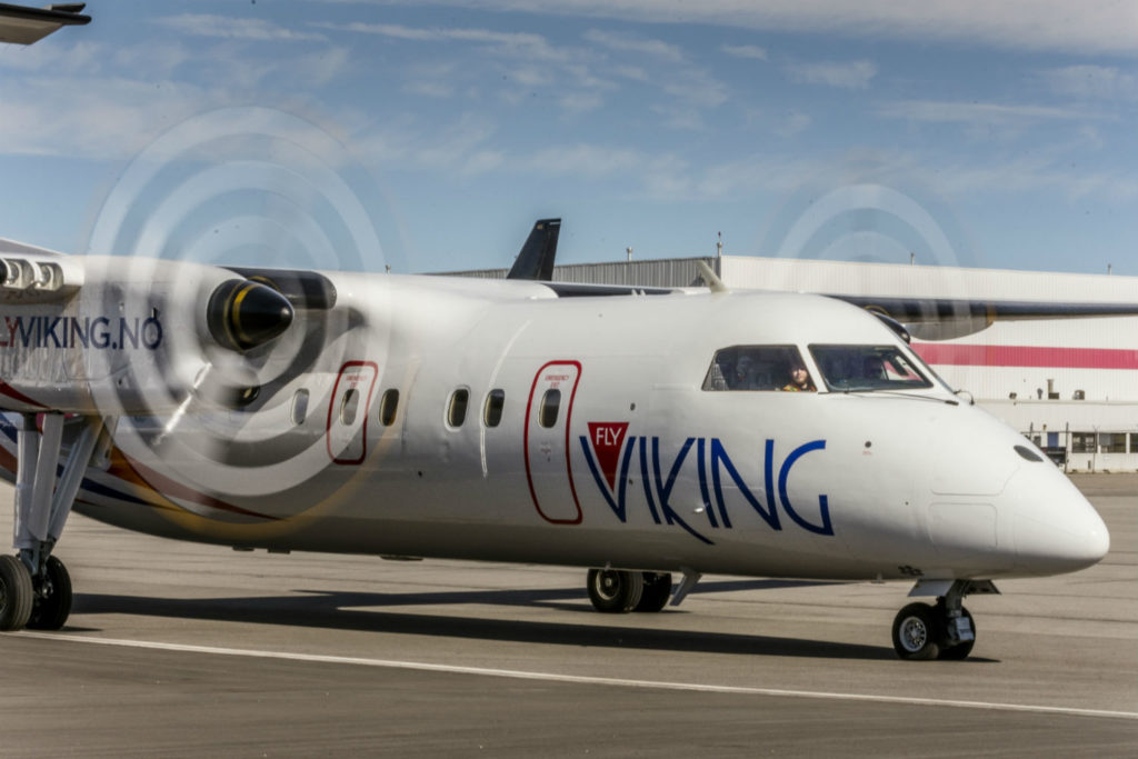 Fly Viking Bombardier Dash 8 on runway