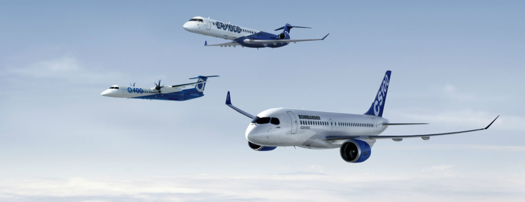 Q400, CRJ and C Series aircraft in flight