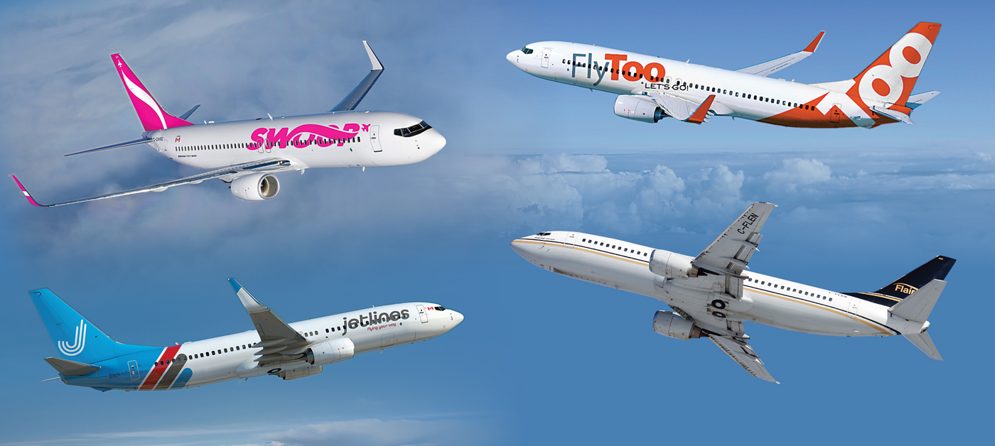 Collage featuring Swoop, FlyToo, Canada Jetlines and Flair Airlines planes