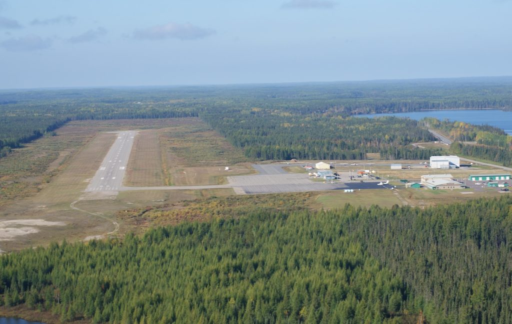 An aerial view of Greenstone Regional Airport.
