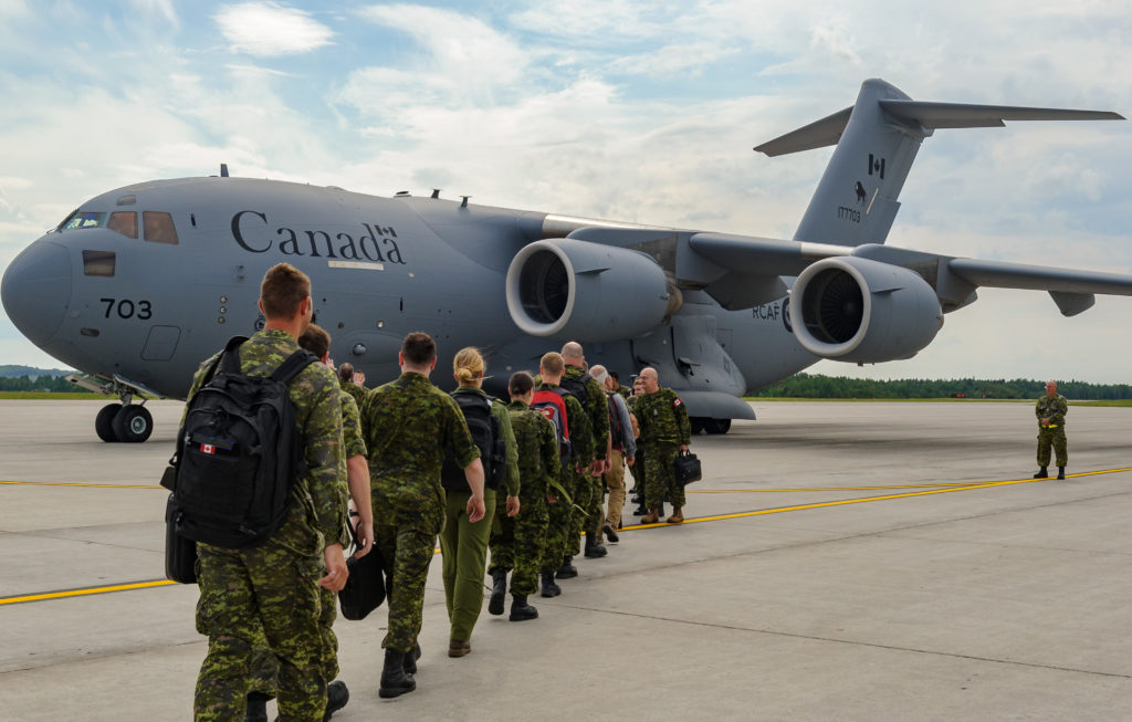 On Aug. 11, 2017, in Bagotville, Que., members of the Airfield Activation Surge Team (AFAST) boarded the CC-177 Globemaster III that took take them to Romania. Mylène Bissonnette Photo