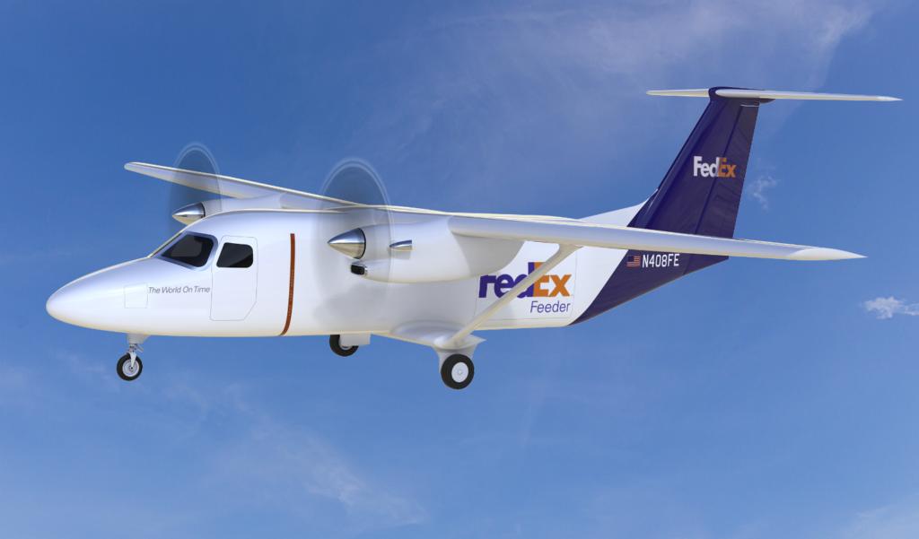 FedEx plane in flight