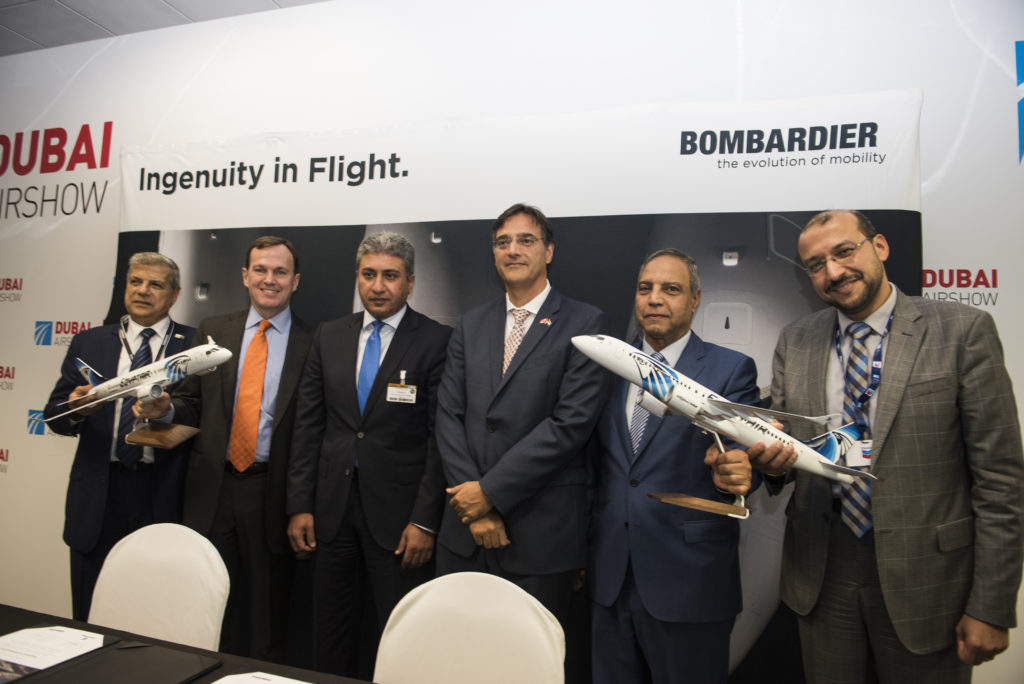 The deal covers 12 firm orders and 12 purchase rights of CS300 aircraft. Bombardier Photo