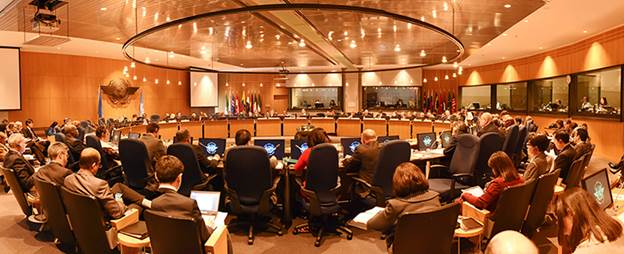 Members of the 36-state ICAO Council are seen here in a meeting.