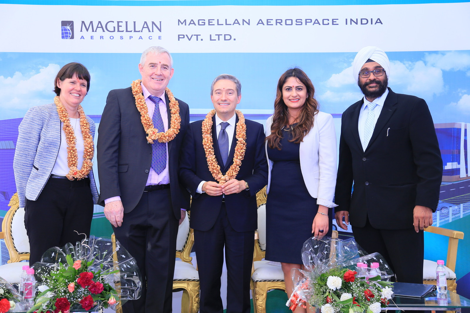 Minister of International Trade, Francois-Philippe Champagne, poses with Magellan executive team Haydn Martin, Jasdeep Bevli and Jennifer Daubeny (consul general, Bengaluru) at the groundbreaking ceremony for Magellan Aerospace's new manufacturing and assembly facility in Devanahalli, India. Magellan Aerospace Photo