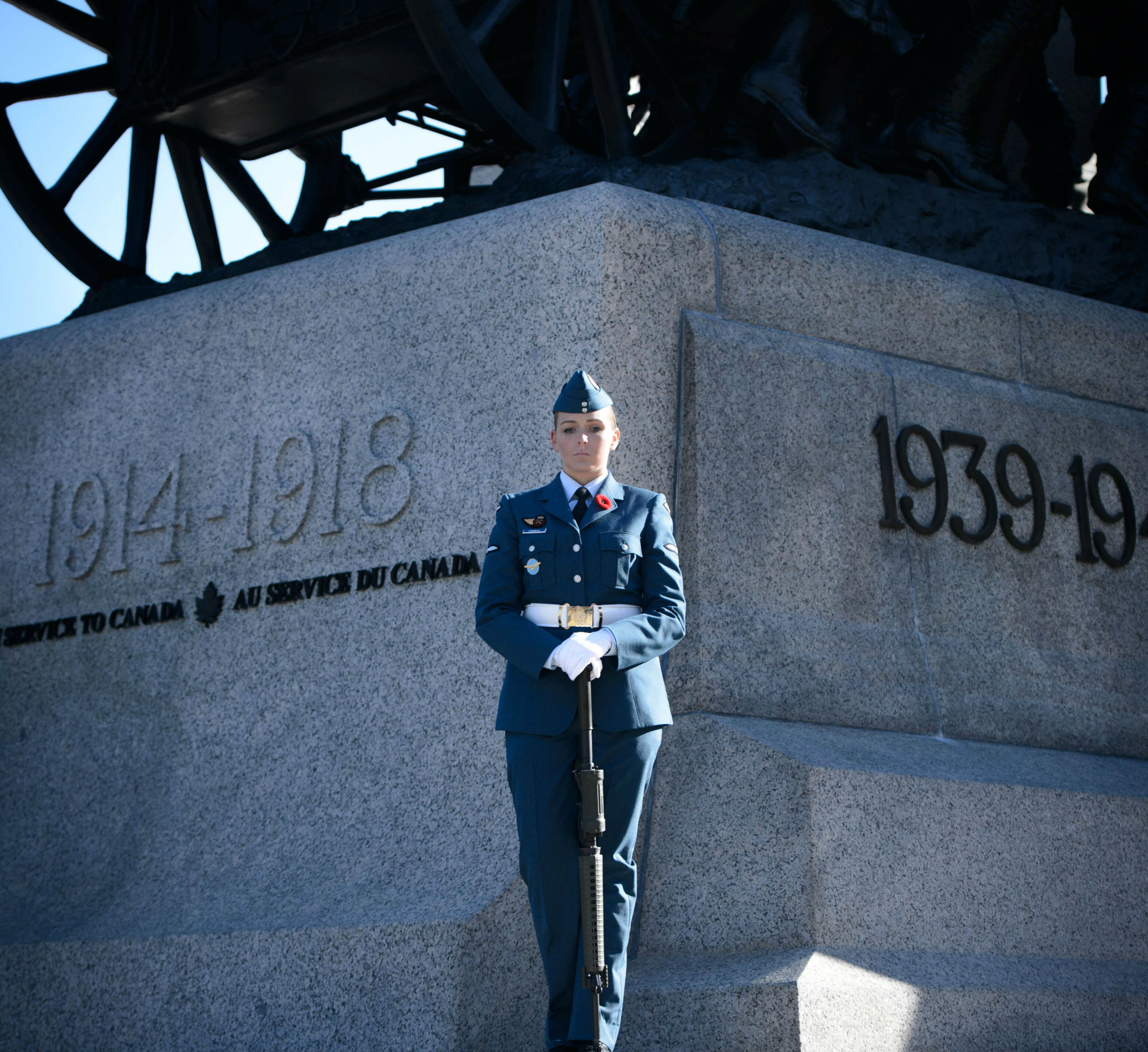 Aviator Sarah Comeau stands at National War Memorial
