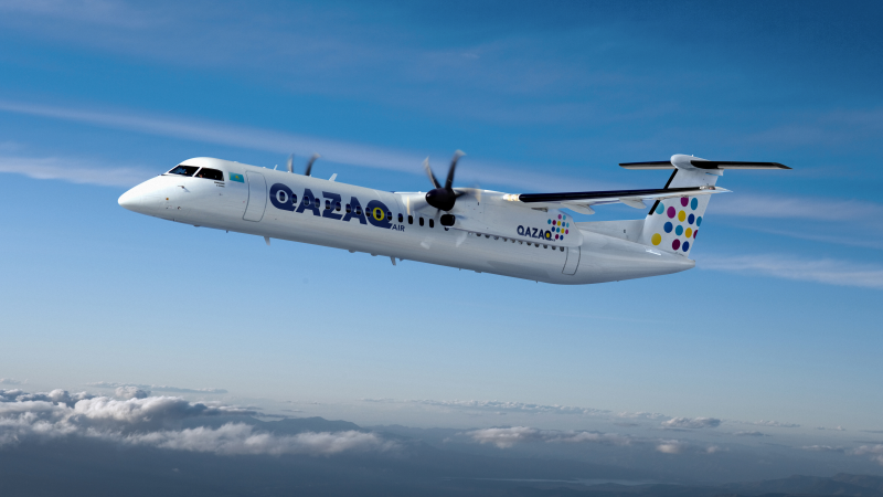 Q400 aircraft in Qazaq Air livery