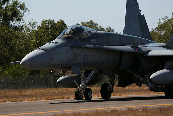 A Royal Australian Air Force (RAAF) F/A-18 Hornet on the RAAF Base Tindal taxiway, commencing another mission during Exercise Diamond Storm 2017.