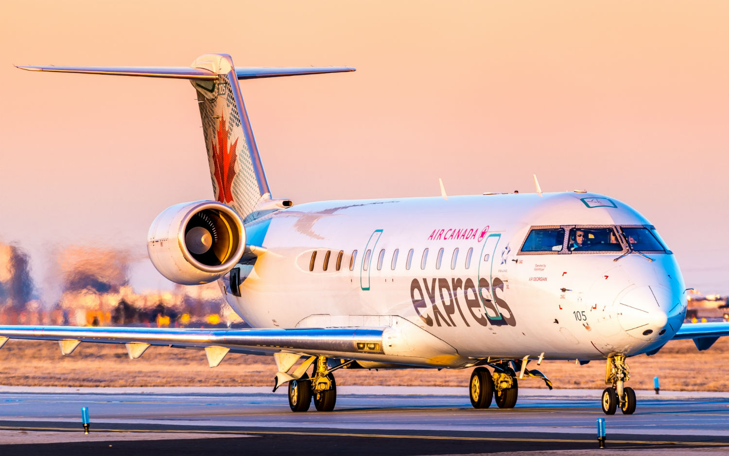 Air Canada Express Bombardier CRJ on runway