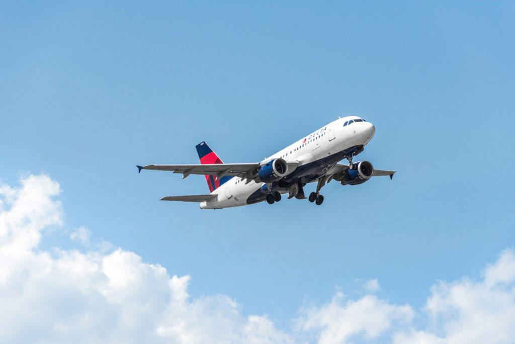 Delta Air Lines plane in flight