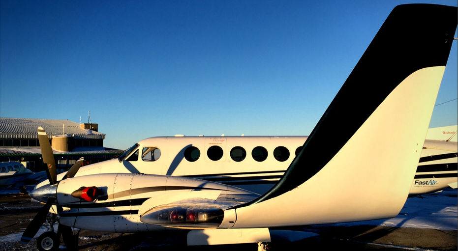 King Air 350 rests on ground