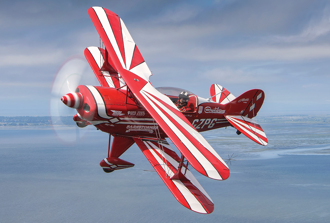 Handy flies his red and white Pitts Special S-2B