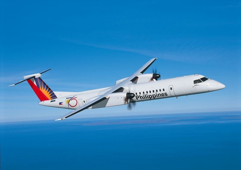 Q400 aircraft in Philippine Airlines livery