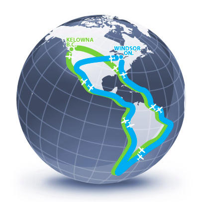 Globe with lines showing route.