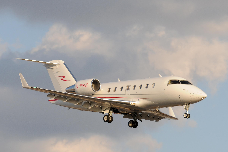 Business jet in flight
