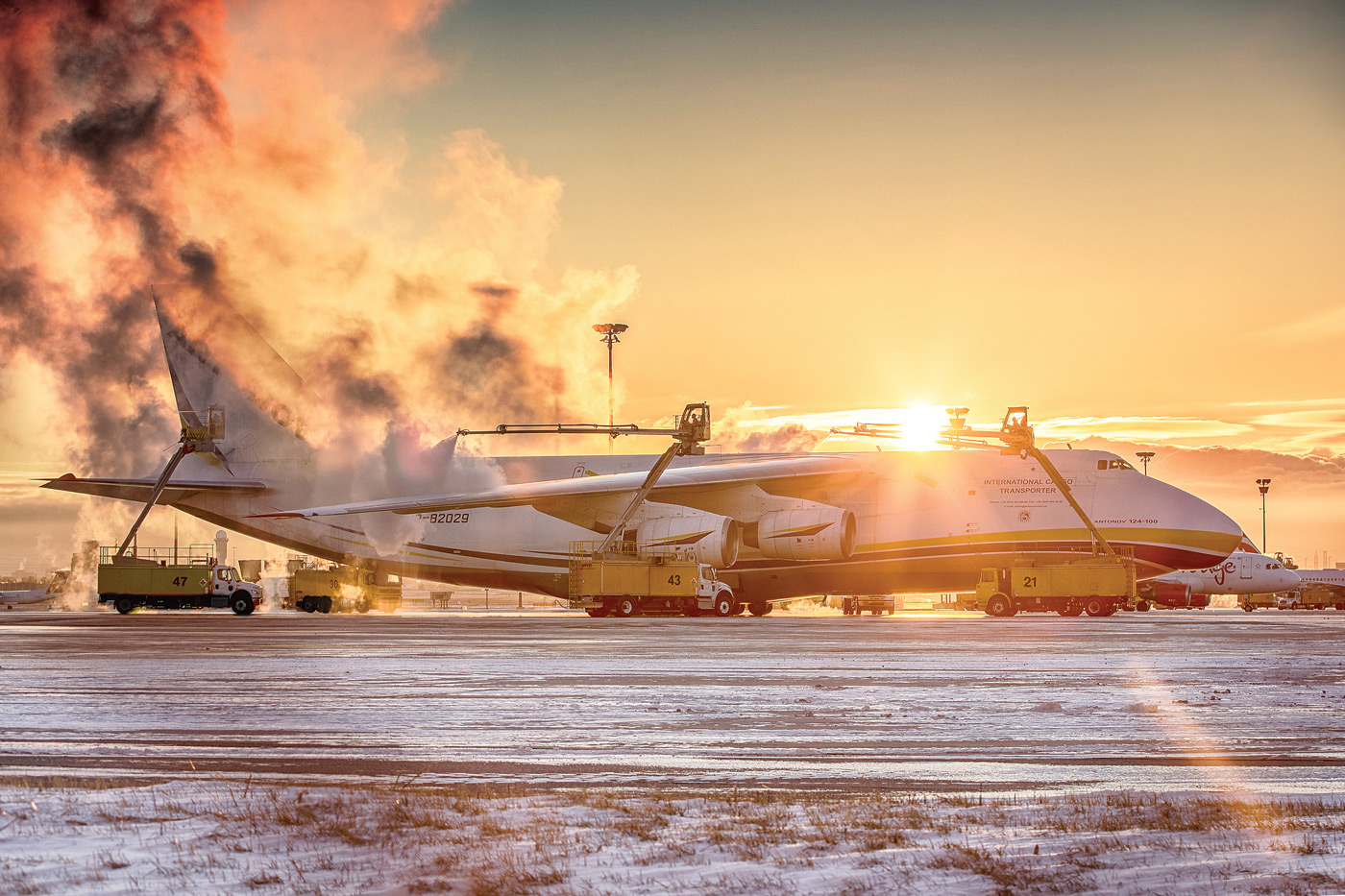 An Antonov AN-124 aircraft is sprayed at the deicing facility at Toronto Pearson International Airport.