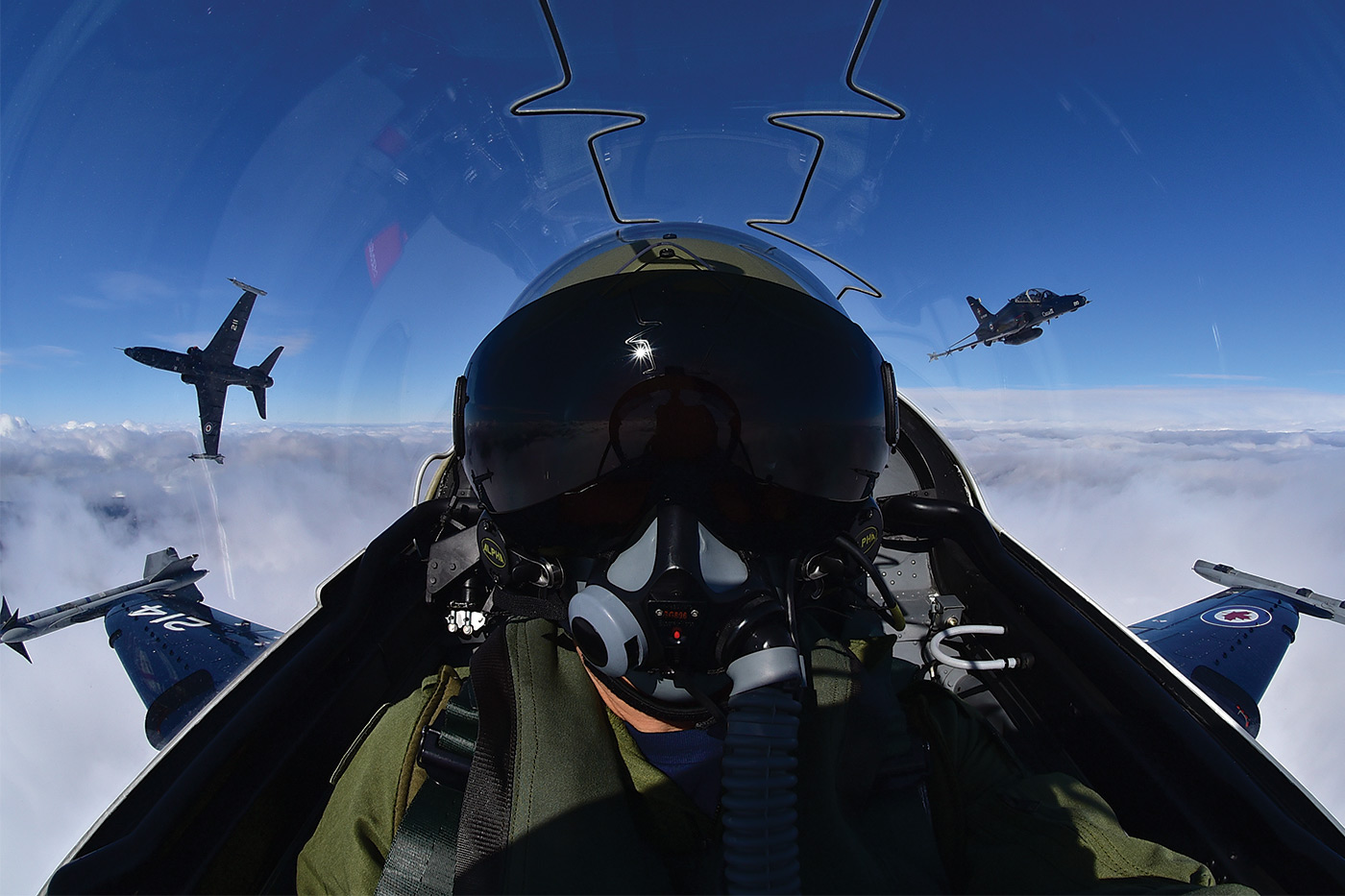 No photo flight is complete without the ultimate selfie. In this case it is in the cockpit of a CT-155 Hawk.