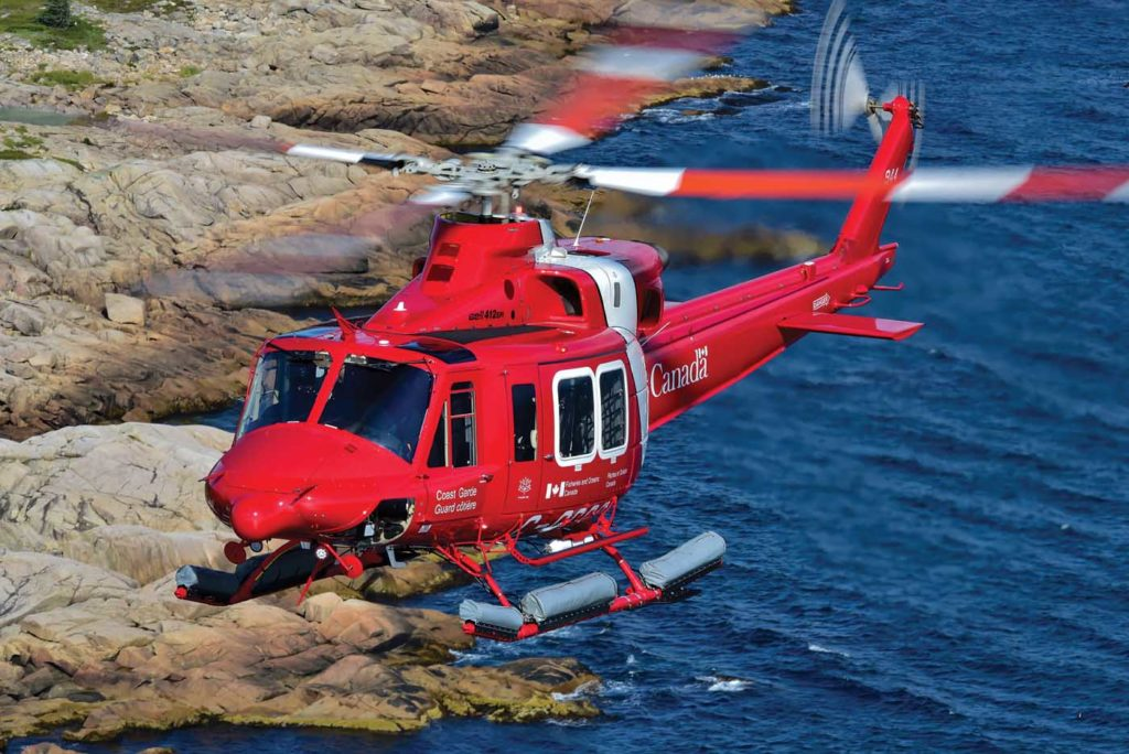 Coast guard helicopter in flight