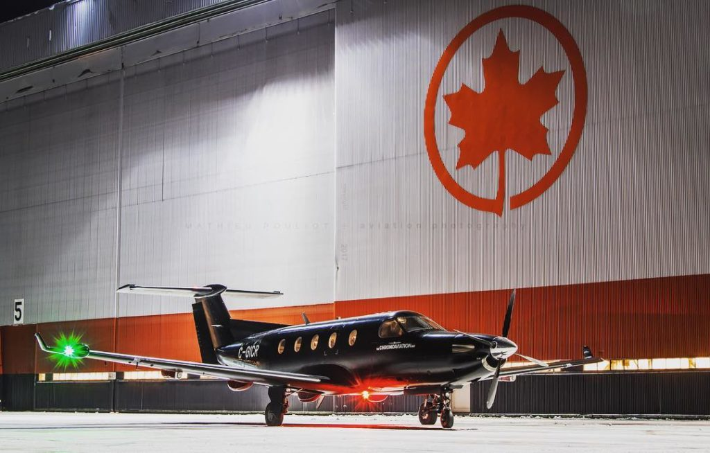 Air Canada maintenance team heading out on an aircraft-on-ground mission with this chartered Pilatus PC-12 from Chrono Aviation. Photo submitted by Mathieu Pouliot (Instagram user @mathieu.pouliot) using #skiesmag