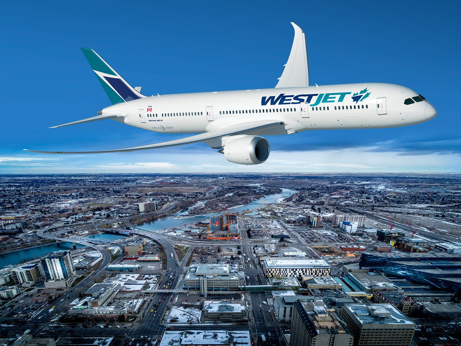 A Boeing 787-9 Dreamliner in WestJet livery flies over a cityscape.