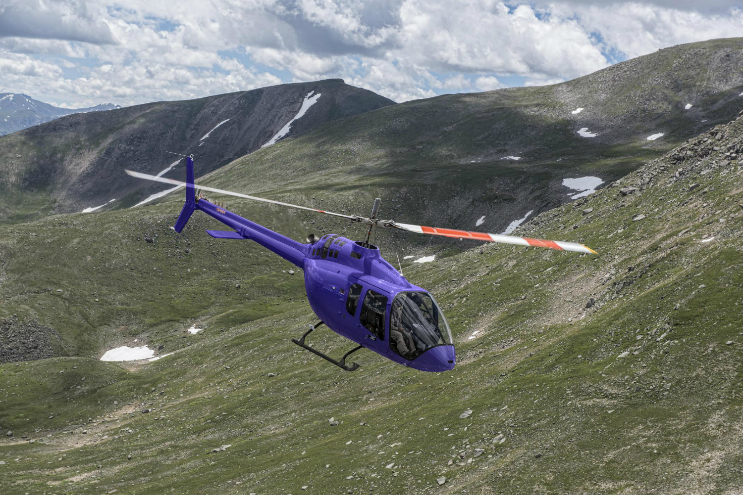 Purple Bell 505 in flight
