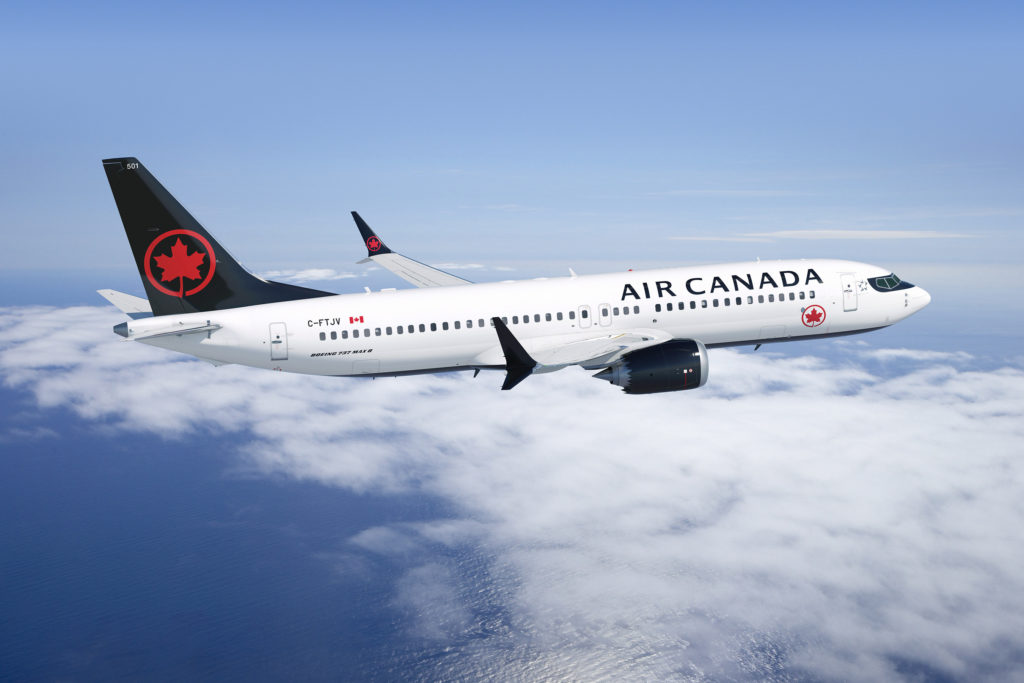 Air Canada Boeing 737 MAX 8 in flight