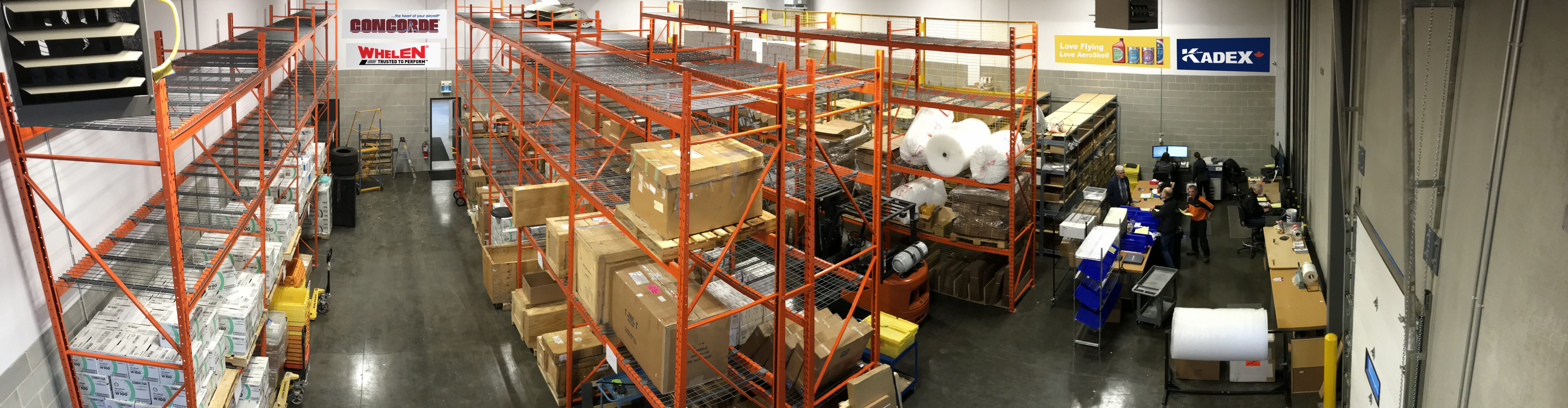 An interior view of Kadex's Calgary warehouse.